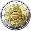 2 euros commemorative 2012 malte 10 ans de l euro