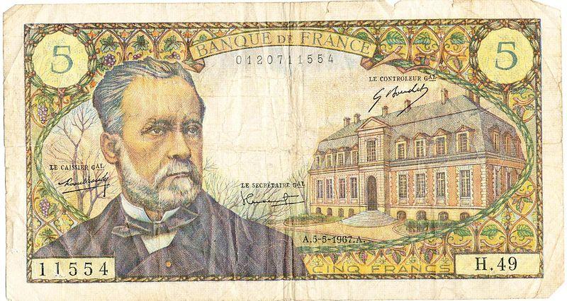 800px recto billet de cinq francs francais 1968