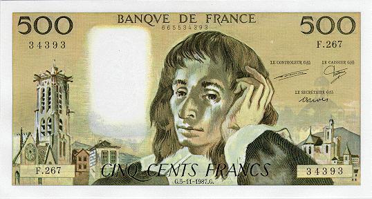 France 500 francs 1987 a